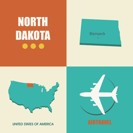 air travel: flat design with map North Dakota concept for air travel