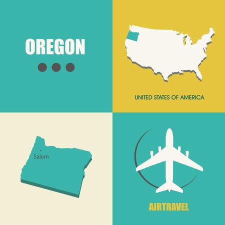 air travel: flat design with map Oregon concept for air travel Illustration
