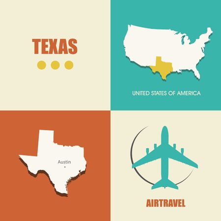 air travel: flat design with map Texas concept for air travel Illustration