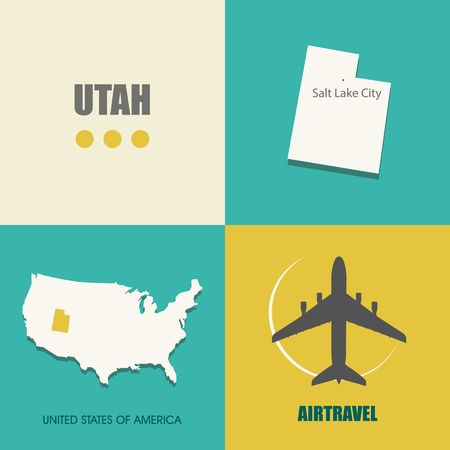 air travel: flat design with map Utah concept for air travel