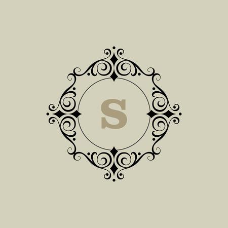 calligraphic design: calligraphic monogram emblem, logo design vector illustration Illustration