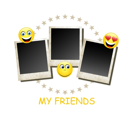 young leaves: My frends photo card frame, vector illustration