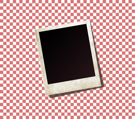 photo card: Red checkered picnic tablecloth with photo card Illustration