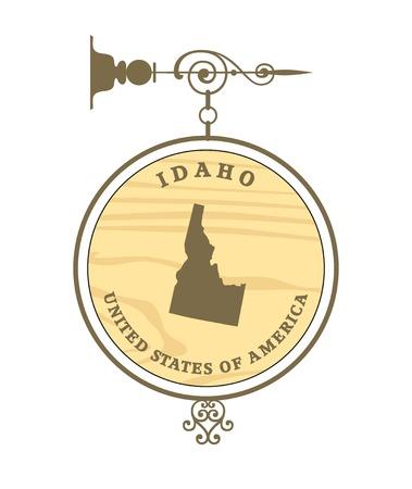 idaho: Vintage label with map of Idaho, vector