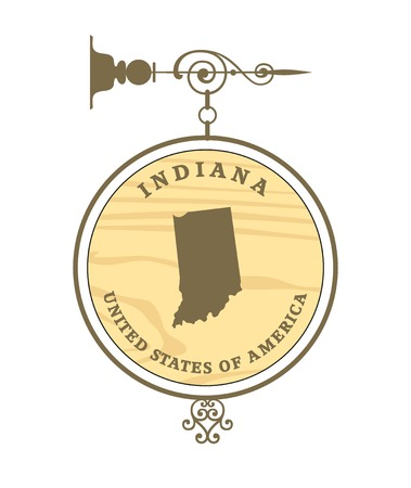 indiana: Vintage label with map of Indiana, vector Illustration