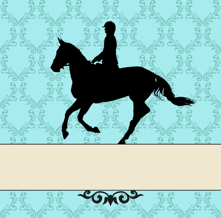 manege: vector illustration, rider controls running horse, competition dressage Illustration