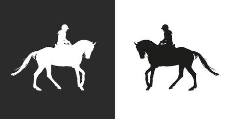 Pferd mit Horsewoman-Vektor ausführen