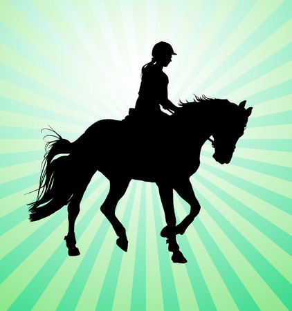 vector illustration, rider controls running horse