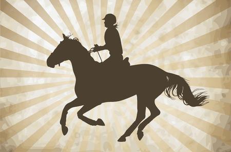 vector illustration, rider controls running horse