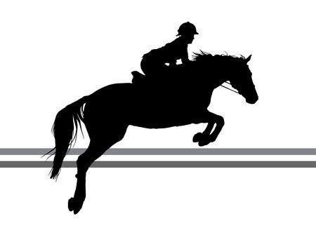 vector illustratie, ruiter controleert lopen paard