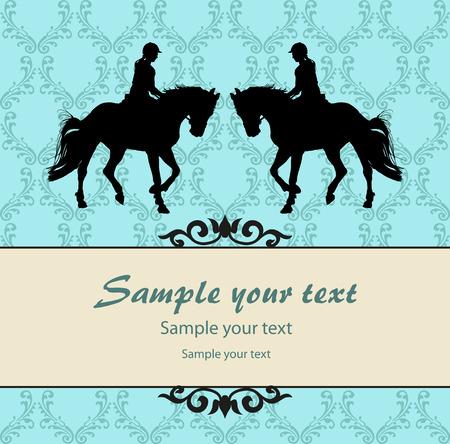 vector illustratie, ruiter controleert lopen paard Vector Illustratie