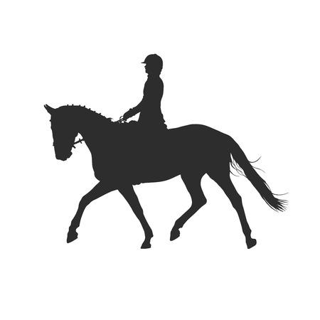 vector illustratie, ruiter controles lopen paard, de concurrentie dressuur Vector Illustratie