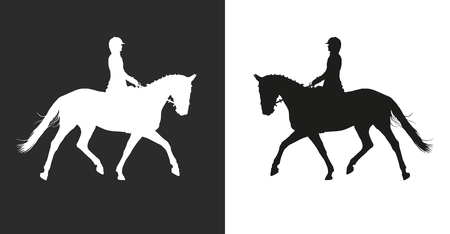vector illustration, rider controls running horse, competition dressage Ilustração