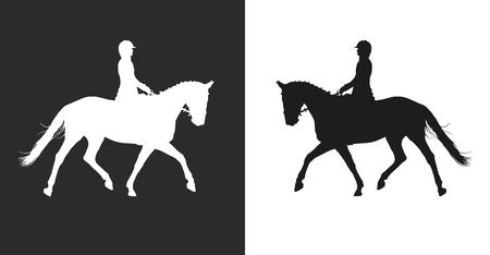Vektor-Illustration, Reiter Kontrollen laufen Pferd, Wettbewerb Dressur