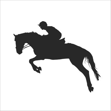 vector illustration, rider controls running horse, competitions show jumping Ilustração