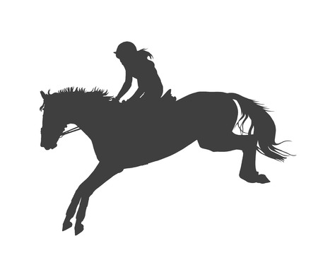 manege: vector illustration, rider controls running horse, competitions show jumping Illustration