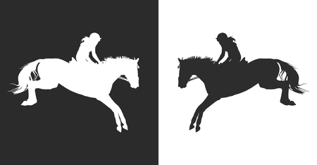 vector illustration, rider controls running horse, competitions show jumping Illustration