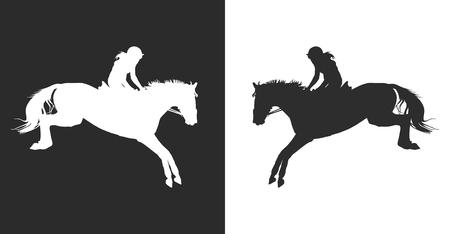 vector illustratie, ruiter controles lopen paard, wedstrijden laten zien springen
