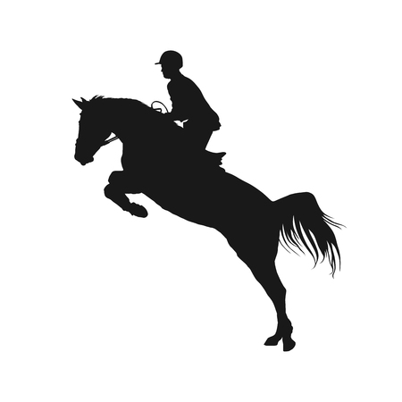 show jumping: vector illustration, rider controls running horse, competitions show jumping Illustration