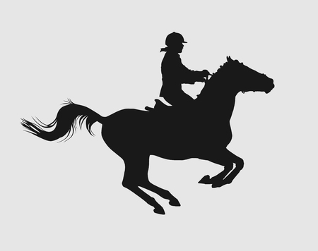 cavalry: vector illustration, rider controls running horse, competitions show jumping Illustration
