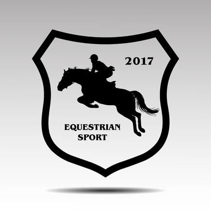 Vektor-Illustration, Reiter Kontrollen Pferd ausgeführt wird, zeigen Wettbewerbe Springen