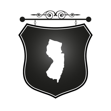 new jersey: New Jersey map on heraldic sign Illustration