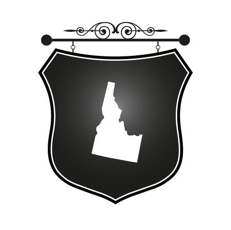 idaho: Idaho map on heraldic sign