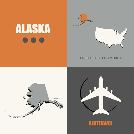 air travel: flat design Alaska map concept air travel Illustration