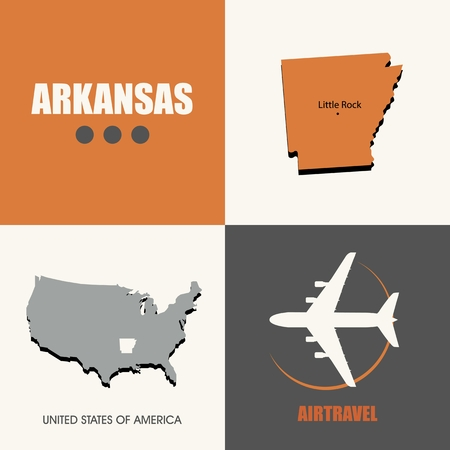air travel: flat design Arkansas map concept air travel