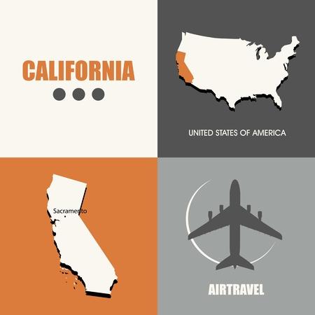air travel: flat design California map concept air travel