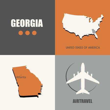 air travel: flat design Georgia map concept air travel