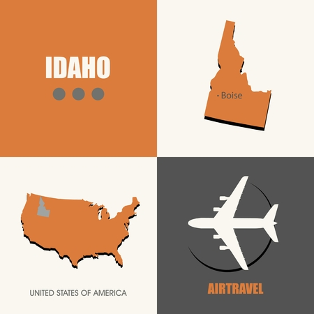 idaho: flat design Idaho map concept air travel Illustration
