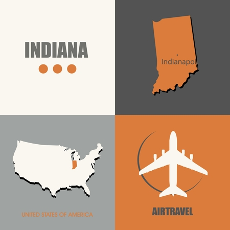 flat design Indiana map concept air travel