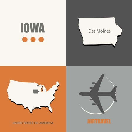 concepts and ideas: flat design Iowa map concept air travel