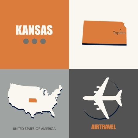 air travel: flat design Kansas map concept air travel