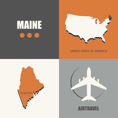 air travel: flat design Maine map concept air travel