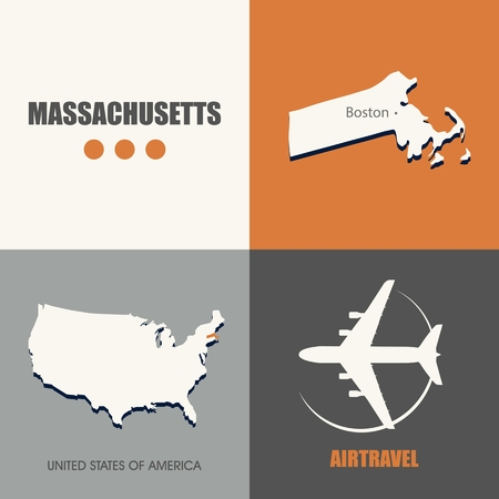 air travel: flat design Massachusetts map concept air travel