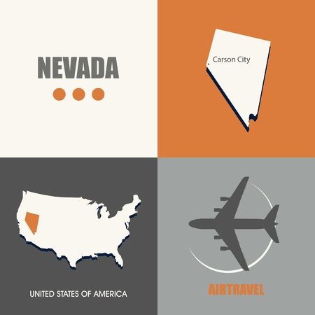 air travel: flat design Nevada map concept air travel Illustration