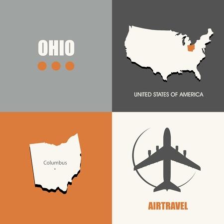 air travel: flat design Ohio map concept air travel