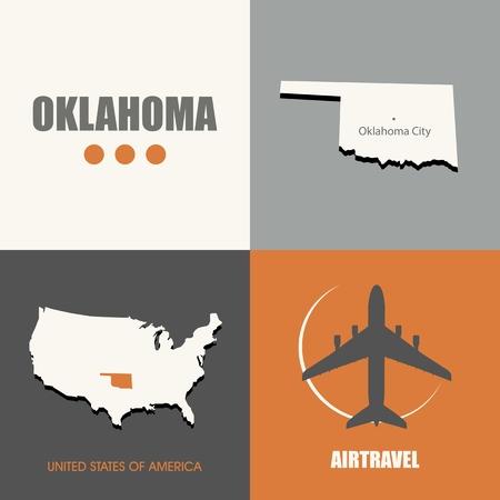 air travel: flat design Oklahoma map concept air travel