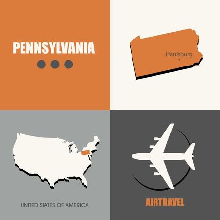 air travel: flat design Pennsylvania flat map concept air travel