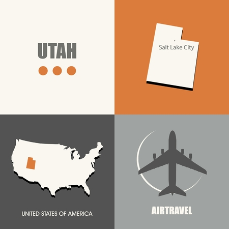 air travel: flat design Utah map concept air travel