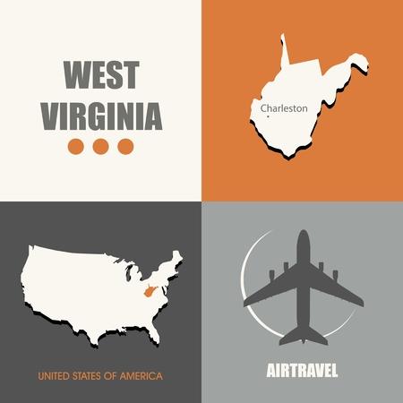 air travel: flat design West Virginia map concept air travel