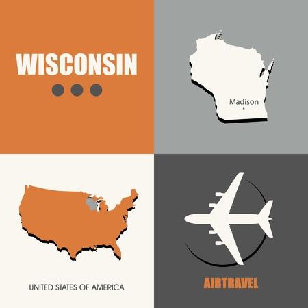 air travel: flat design Wisconsin map concept air travel
