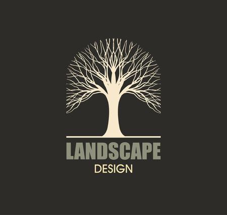 arbres silhouette: Tree silhouette logo design élément vecteur de paysage