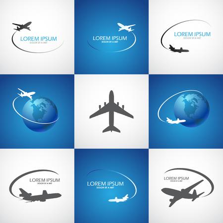símbolo del avión del viaje del logotipo de diseño vectorial turismo