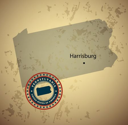 pennsylvania: Pennsylvania map with stamp vintage vector background Illustration