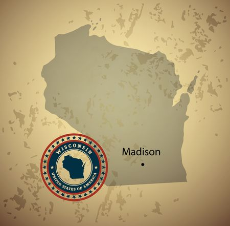 wisconsin: Wisconsin map with stamp vintage vector background Illustration