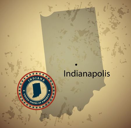 indiana: Indiana map with stamp vintage vector background