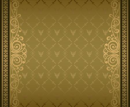 pattern antique: Vintage ornament heraldic golden background